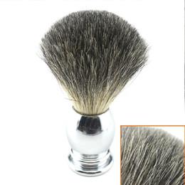Argentina Mango de acero inoxidable en blanco Brocha de afeitar Brochas de barba de tejón Silvertip Badger Brocha de afeitar Peluquería Cuidado de la cara sin logotipo Suministro