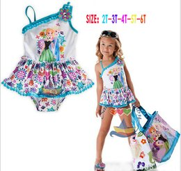 Wholesale Girls Swim 3t - frozen swimsuit kids summer clothing elsa and anna swimming suit children suspender suit cartoon swimwear DHL free shipping