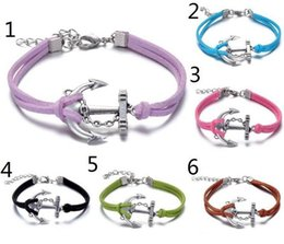 Wholesale One Direction Anchor Bracelet - Infinity Anchors Multilayer Pattern Braided One Direction Leather Charms Bracelet for men woman