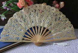 Wholesale Vintage Wedding Hand Fans - Vintage Handmade Gold Battenburg lace full battenburg wedding hand Fan bridal accessories high quality Cheap In Stock