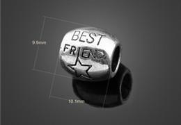 Wholesale 9mm Teardrop Beads - 10*9mm 925 Silver pentagram letter BEST FRIEND big hole bead , fashion Charm Fits European Pandora DIY BeadS Bracelets necklace accessories