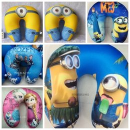 Wholesale Micro Bead Neck Pillow - 30cm Despicable Me Jorge Dave Stewart Children U Shaped Head Rest Micro Foam Beads Traveling Neck Pillow frozen elsa anna pillow in stock