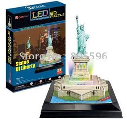 Wholesale Led 3d Puzzles - Wholesale-(Paper model)LED Light Building ,3D DIY Models,Home Adornment,Puzzle Toy,Paper model,Papercraft,Card model, STATUE OF LIBERTY