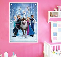 Wholesale Blue Movie Wallpaper - Frozen Elsa Princess Wall Decals Removable Cartoon Wall Stickers Frozen Movie Stickers Kids Room Nursery Wall Decor PVC 50x70cm,