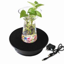 Ювелирные украшения онлайн-Wholesale-Black Velvet Top Electric Motorized Rotating Display Turntable for Model Jewelry Hobby Collectible Home - With 110v Ac Adapter