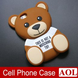 Wholesale Phone Case Rubber Cartoon - 3D Cute Cartoon Brown Bear Soft TPU Silicone Rubber Case for iPhone 5s 6 6s plus Samsung S6 S5 note4 note3 phone cover