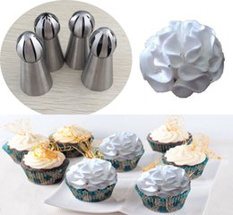 Wholesale Russian Tubes - Wholesale- 4PCS LOT Stainless Steel Russian Ball Nozzles Flower Fondant Icing Piping Tips Cream Torch Pastry Tube Cake Decorating Tools