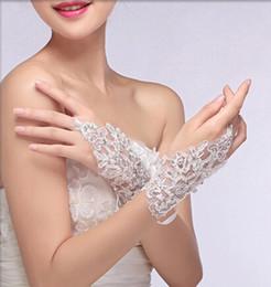 Wholesale Rhinestone Beads Gloves - Wholesale New Elegant Fingerless Gloves Wedding Bridal Gloves Rhinestone Lace Hollow Gloves Free Shipping