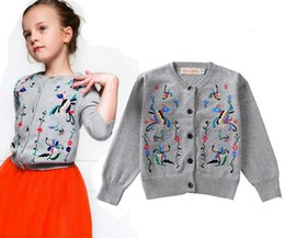 Wholesale Toddler Cardigan Wholesale - 2015 new children's baby gray floral cardigan sweaters toddlers girl's embroidered flowers cotton cardigan sweater