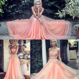 Wholesale Long Sexy Peach Bridesmaid Dresses - Peach 2015 Prom Dresses Coral Bridesmaid Dresses With Lace Applique A Line Sweetheart Neck Sleeveless Long Blush Party Dresses Ball Gowns