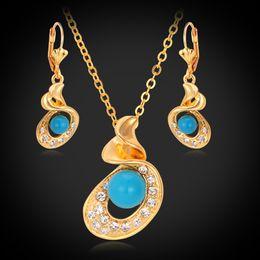 Жемчужное ожерелье набор синий онлайн-Мода Перл комплект ювелирных изделий 18k реального позолоченный горный хрусталь синий жемчуг партия ожерелье серьги наборы для женщин Бесплатная доставка