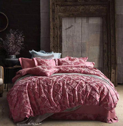 Wholesale Silk Beddings - 2016 Recommend High Grade Luxury 4pcs Bedding Sets Silk Cotton Satin Jacquard Beddings Handmade Lattice Design Royal Style Queen Size