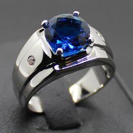 Wholesale Blue Sapphire Ring 925 Silver - Men's 925 Silver Filled Round Blue Sapphire Ring Christmas Gift
