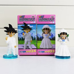 Wholesale Toy Action Figure Dolls - DRAGON BALL Son Goku ChiChi Wedding scene PVC Dolls Toys Movie WCF DWC7 Action Figure Free shipping