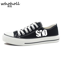 Wholesale art online prints - WHOHOLL 2017 Autumn Man Causal Canvas Shoes Couple Sword Art Online Printing Hand-painted Shoes Kirito Animation Students Shoes