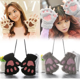 Wholesale Body Art Party - Funny Winter Warm Women Girls 14 Colors Fluffy Plush Mittens Cat Bear Paw Claw Glove for Party Cosplay