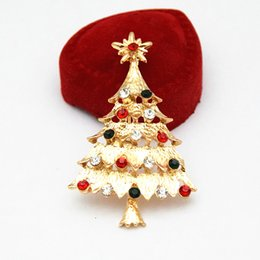 Wholesale Cheap Christmas Tree Gifts - Gold Tone Stunning Colorful Diamante Christmas Tree Brooch Hot Selling Cheap Elegant Christmas Gift Broaches Free Shipping