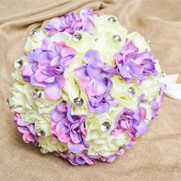 Wholesale Artificial Crystals For Decoration - 2015 Bridal Wedding Bouquets Wedding Decoration Romantic Artificial Bridesmaid Holding Flowers Crystal Silk Rose Bouquet for Wedding Party