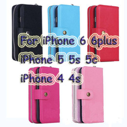 Wholesale Wallet Zip For Iphone - Flip Magnetic 2 in 1 Zip Zipper PU Leather Wallet Separated Cover Card Slot Case Photo Frame For iPhone 7 4s 5 5s 5c 6 4.7 6 Plus 5.5