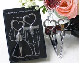 Wholesale Groom Bride Stoppers - Cheers to a great combination wine stopper in White Box 50SET LOT + Bride and groom bottle stopper Heart shape wedding favor