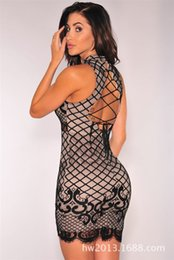 Wholesale Hot Fishnet Dresses - 2017 summer States women's boutique Fishnet Lace Dress foreign Hot Sexy Halter slim skirt bandage casual