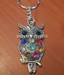 fit key ring Promo Codes - Hot Sale 10pcs Rhinestone Crystal Owl Key Ring Trace Chains Charm Platen Keychain Fit DIY Key Chain Fashion Women Jewelry Gifts A828