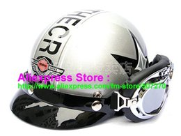 Wholesale Helmet Bol - Wholesale-P.74 New ABS Half Bol Vespa Cycling Half Face Motorcycle Silver Grapheme Helmet Visor & Silver Goggles SIZE M , L , XL