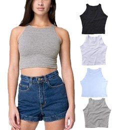Wholesale Tight Fitting Sexy - 2015 Summer New Women Fashion Sexy Sleeveless O-Neck Crop Short Tight Fitting Slim Tank Tops Free Size