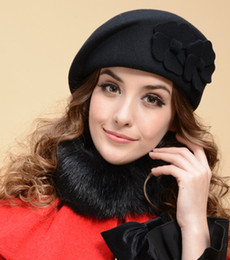 Wholesale Morden Fashion - Lady Morden 2 flower design Wool Winter Church Hat Cap Felt Fedora Stewardess Beret 4 colors Free Shipping