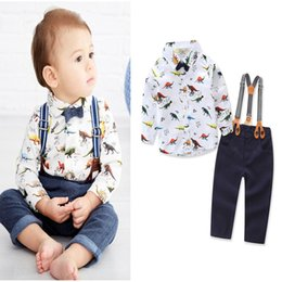 Wholesale Boys Outfits Formal Suit Shirt - New Baby Boys Clothing Sets long Sleeve dinosaur shirt+supender trouser kids 2pcs clothes sets Children Boy Formal Suit Bow Tie outfits