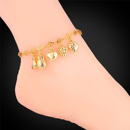 Wholesale Fruit Charm Bracelet - Various Fruits Charms Special Ankle Chains Women Jewelry 18K Real Gold Platinum Plated Beautiful Bracelets Anklets