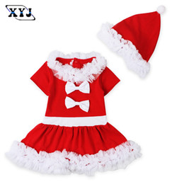 Wholesale Red 12 Mo Dresses - 2017 Kids Baby Christmas Dress Baby Girl Tulle Princess Party Dress Costume For Children Girls Clothing With Hat(ZJ004)