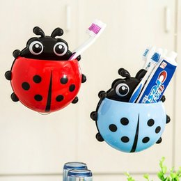 Wholesale Toothbrush Holder Designs - Creative Ladybug Insect Toothbrush Holders Sucker Type Design Plastic Storage Rack High Capacity Lovely Toothpaste Stand Hot Sale 1 65bx B