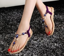 Wholesale Rhinestone Beaded Flat Sandals - Free shipping Summer new beaded rhinestone flat sandals Bohemian Beach sandals clip toe flat bottom shoes size 35-40