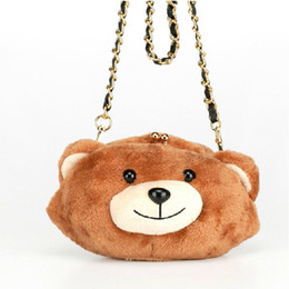 Wholesale Bear Clutch Bag - 2015 New Designer Cute Bear Bag Clutch Purses Small Hairy Women Messenger Bags Fashion Shoulder Crossbody Bags Women Handbag