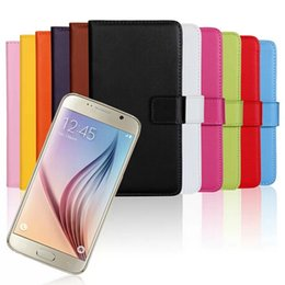 Wholesale S4 Genuine Leather Wallet - For samsung galaxy S3 S4 S5 S6 edge HTC one M9 apple iphone 6 6plus Wallet Genuine Leather Stand Case with 2 Credit Card Slots