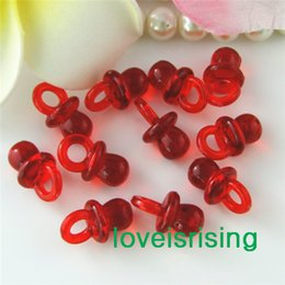 Pack track online-Tracking number-500pcs / pack 22mm * 11mm Clear Red Mini Acrilico Ciuccio Baby Shower Favori ~ Charms carino ~ Decorazioni per feste