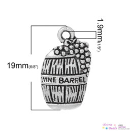 """Wholesale Beer Charm Silver - Charm Pendants Beer Barrel Antique Silver """"Wine Barrel"""" Carved 19mm x 12mm,100PCs (B35526)8seasons barrel laser barrel plating"""