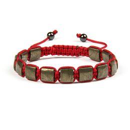 Wholesale Iron Lobster - Wholesale 10pcs lot 8x8mm Natural Retro Iron Ore Round Stone Cube Square Macrame Bracelet For Cool Men's Christmas Gift