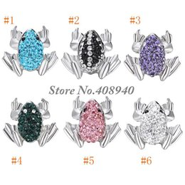 "Wholesale Frog Wholesale - Snap Jewelry 5PCS ""Frog"" Shaped Ginger snap button Fit Snap Button Bracelet and Button Pendant Rhinestone Delicate LSSN017*5"