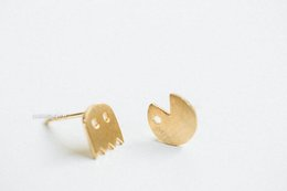 ghost earrings Promo Codes - 30Pair- S013 Gold Silver Pacman or Pac Man Stud Earrings Cute Ghosts Stud Earrings Game Fun Cartoon Earrings Stud for Girl