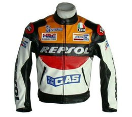 Wholesale Repsol Leather - Wholesale-2014 New DUHAN Moto Racing Jackets motorbike GP REPSOL motorcycle Riding Leather Jacket Top Quality PU leather orange and blue