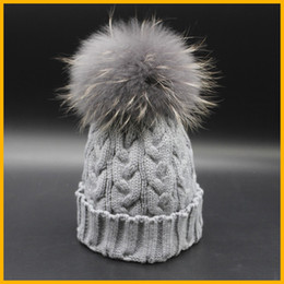 Wholesale Grey Fur Raccoon - Wholesale-New Fashion Grey Beanie Hat With Fur Pom pom Winter Deyed Raccoon Fur Hats For Women Skullies Caps