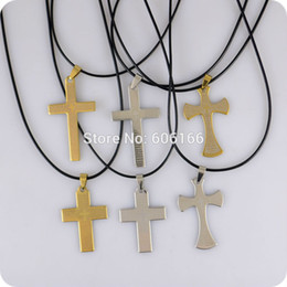 Wholesale Wholesale Catholic Jewelry - 12pcs English Bible Lord's Prayer Cross Stainless Steel Pendant Necklace Christian Catholic Fashion Religious jewelry Wholesale