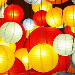 """Wholesale Chinese Hanging Ornaments - Fashion 10"""" 25cm Chinese Paper Lanterns With LED Candle Lights For Wedding Christmas Birthday Hanging Ornament Party Decoration Supplies"""
