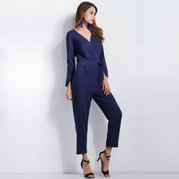 Wholesale European Ladies Jumpsuits - Wholesale- 2017 Spring Ladies Jumpsuits Blue Long-sleeved V-collar Office Rompers Womens Jumpsuit European Style Nine Pants