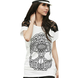 t shirt lace blouse Promo Codes - Wholesale-Cotton Lace Shoulder Blouse Top Shirt Short Sleeve Skull Print Women Tee T-Shirt For Women