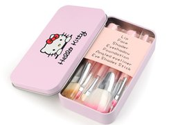 Wholesale Gold Makeup Case - New Professionals 7Pcs Set Hello kitty Cosmetic Brush Kit Makeup Brushes Pink iron Case Toiletry beauty appliances makeup brush DHL FRE