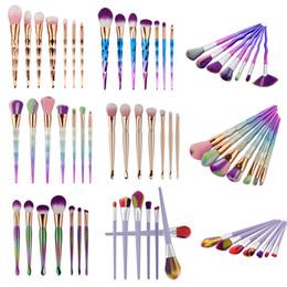 Wholesale Makeup Brush 7pcs Set - 7pcs Diamond Mermaid Makeup Brush Set Kits Eyeshadow Powder Foundation Brush Cosmetic Beauty Tool Rainbow Make up Brushes