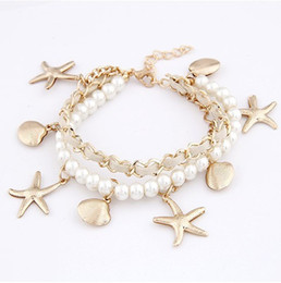 Wholesale Matches Charm - B216 NEW Fashion Starfish Shell with Pearls Leather Korean style Diversification All-Match Seashell Multilayer Bracelets #1707